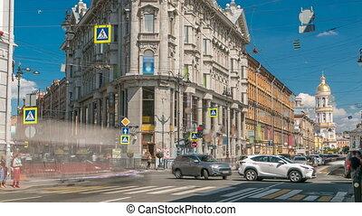 Crossroads five corners timelapse. ST. Petersburg, Russia -...