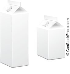Milk and juice white carton boxes packages with lid. Vector