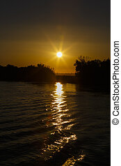 beautiful sunset on Danube Delta