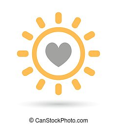 Isolated line art sun icon with the heart poker playing card...