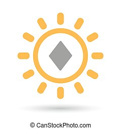 Isolated line art sun icon with the diamond poker playing...