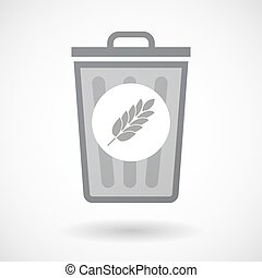 Isolated trash can icon with a wheat plant icon -...