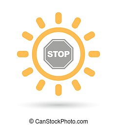 Isolated line art sun icon with  a stop signal