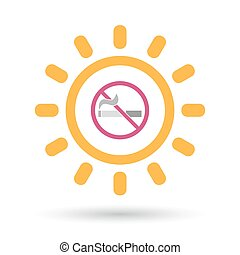 Isolated line art sun icon with a no smoking sign -...