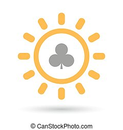 Isolated line art sun icon with the Club poker playing card...