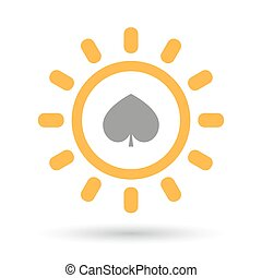 Isolated line art sun icon with the spade poker playing card...