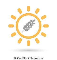 Isolated line art sun icon with a wheat plant icon -...