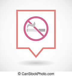 Isolated line art tooltip icon with a no smoking sign -...