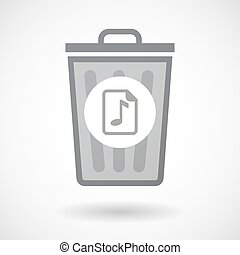 Isolated trash can icon with a music score icon -...