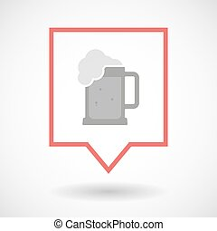 Isolated line art tooltip icon with  a beer jar icon