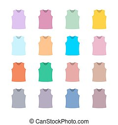 Set of colored tank top, vector illustration - Set of...