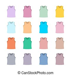 Set of colored tank top, vector illustration. - Set of...