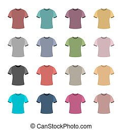 Set of colored t-shirts, vector illustration.