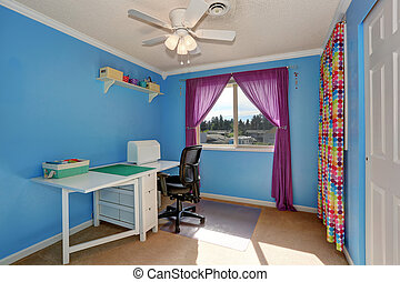 Bright blue sewing room interior with colorful curtains.