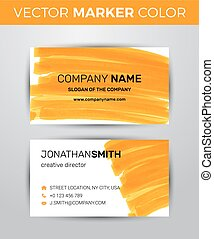 Two sided business card template. Orange paint strokes markers.
