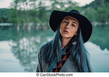 Boho style beautiful woman