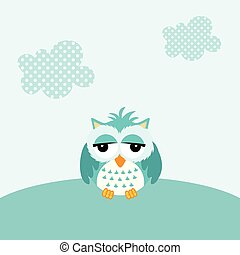 Baby owl boy background - Scalable vectorial image...