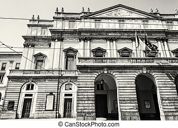 La Scala is an opera house in Milan, Italy, black and white...