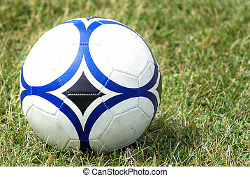 Soccer Ball on the Grass - A soccer ball sits on the field...