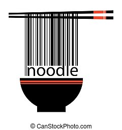 Noodle Barcode With Chopstick And Bowl - Vector stock of...