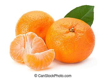 Tangerine on white - Open tangerine fruit isolated on white