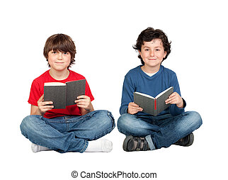 Couple of student children with a book