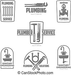 vector logo water, gas engineering, plumbing service. Web...