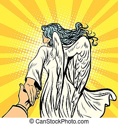 follow me, woman angel with wings. pop art retro comic book...