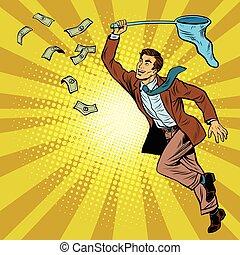 Business man catching money with a butterfly net, pop art...