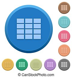 Embossed spreadsheet buttons - Set of round color embossed...