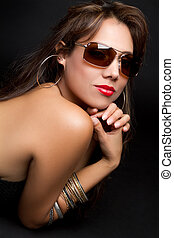 Sunglasses Woman - Beautiful latina woman wearing sunglasses