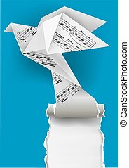Origami dove with musical notes. - Origami paper pigeon with...
