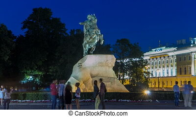 Peter the Great monument Bronze Horseman on the Senate Square night timelapse hyperlapse. ST PETERSBURG, RUSSIA