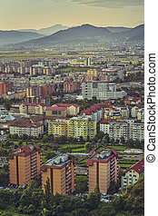 Aerial Brasov cityscape - Early morning aerial cityscape of...