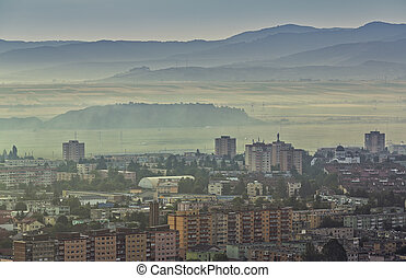 Foggy morning cityscape - Aerial cityscape of residential...
