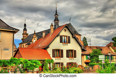 Traditional Alsatian houses in Molsheim - France -...