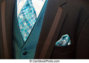Formal Wear - Close-up of a modern tuxedo.
