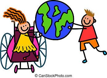 Disabled World Kids - Happy cartoon stick children holding a...