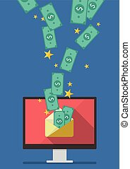Computer with banknote in envelope. Vector illustration