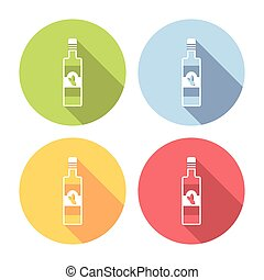 Olive Oil Bottle Flat Icons Set - Olive Oil Bottle Flat...