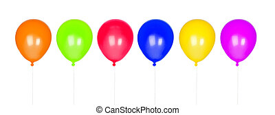 Six colorful balloons inflated isolated on white background