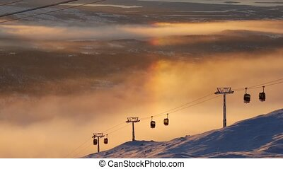 Are Sweden Cable Car Passing By Sunset Golden Colors Sun...
