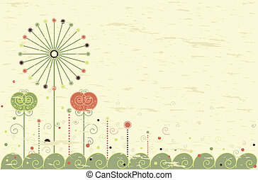 Retro card with dandelion - Retro greeting card with flowers...