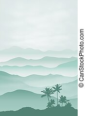 Mountains with palm tree in the fog. Background. EPS10...