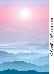 góry, mgła, tło, słońce