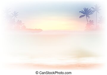 Sea sunset with palm trees