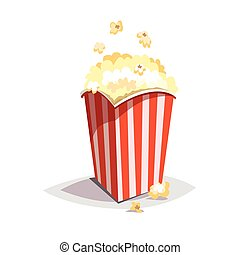 Colorful cartoon fast food icon on white background. Large popcorn packaging.