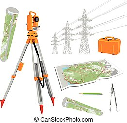 Theodolite, maps, compasses, pencil, power lines. Isolated...