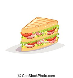 Colorful cartoon fast food icon on white background. Sandwich with salami and cheese.