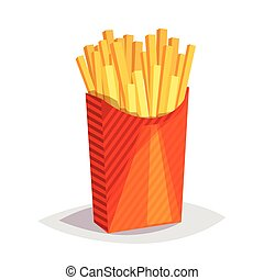 Colorful cartoon fast food icon on white background. French fries